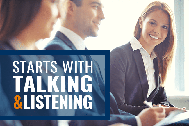salesperson retention - start talking and listening